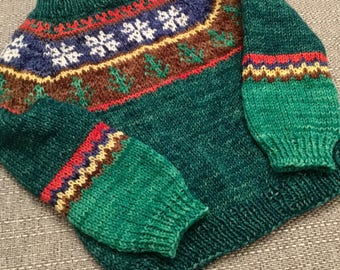 Hand knit Christmas sweater jumper 12 to 18 months READY TO SHIP