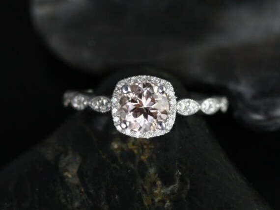 Rosados Box Christie 6mm 14kt White Gold Morganite and Diamonds Cushion Halo WITH Milgrain Engagement Ring