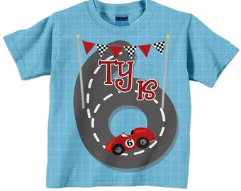 Race Car Shirt, Personalized Name, Boy's Racing Birthday T-Shirt, 1st 2nd 3rd 4th 5th 6th 7th 8th 9th Birthday
