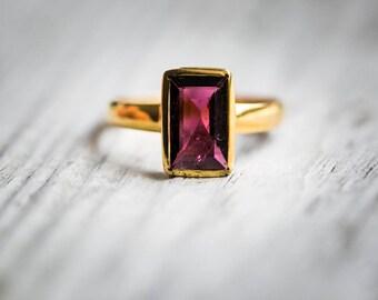 Pink Tourmaline 14k Gold Size 7.5 Engagement Ring Rubellite Tourmaline - Tourmaline Ring Size 7.5 - Pink Tourmaline 14k Gold Rubellite Ring