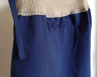 blue fabric skirt and knit