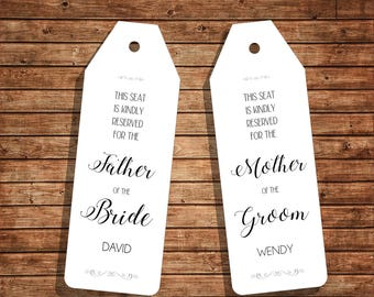 Wedding Ceremony Seat Reservations for Father & Mother / Instant Download / Editable PDF