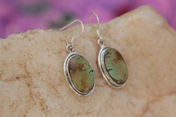 PALE TURQUOISE EARRINGS - Rare Natural Turquoise - 925 Sterling Silver Earrings - Gemstone - Vintage style - Green turquoise - Bohemian