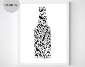 Beer Prints, Beer Gifts, Beer Art, Black and White Prints, Instant Download Art, Beer Lover Gift, Beer Gifts for Men, Unique Beer Gift