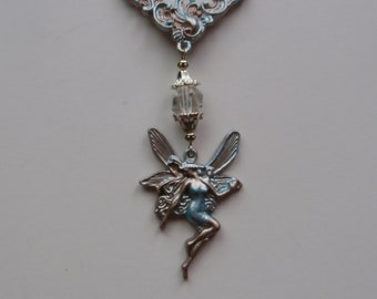 Fairy necklace pendant hand painted patina with white Quartz crystal