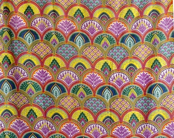 fabric, cotton multicolored arches pink and yellow