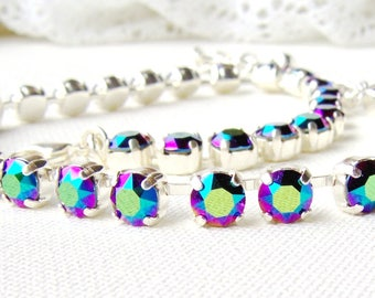Swarovski crystal rhinestone necklace / 6mm / Scarabaeus green / Statement necklace / Bridal / Tennis necklace / multicolor / rainbow