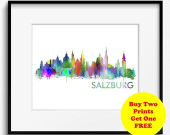Salzburg Skyline Watercolor Art Print (391) Cityscape Austria