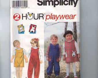Kids Sewing Pattern Simplicity 9230 Toddlers Jumpsuit and Jumper Dress Size 1/2 1  2 3 4 Breast 20 21 22 23 24 UNCUT 1994 90s
