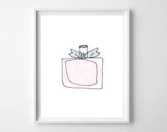 Pink Perfume Wall Art Printable, French Fashion Print, Pink Lovers Print, Perfume Fashion Print, Fashionista Wall Art, Pink Perfume Print