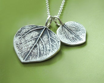 Mother and Child Aspen Leaf Necklace in Sterling Silver, Gift for Mom, Last Minute Gift, Free Shipping, Gardening Gift