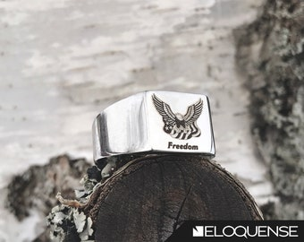 American Freedom Ring, USA Ring, Freedom Ring, Patriotic Ring - Laser Marked