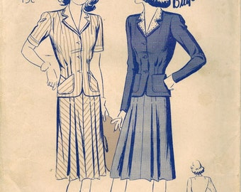 1940s Butterick 2520 Vintage Sewing Pattern Misses Two Piece Suit Frock, Skirt, Blouse, Detachable Collar Size 12 Bust 30