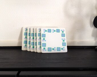 Decorative 6 Coasters Beer Pads / Mats Plastic  Ligth Blue / Green / Rose / Mirable Mealmine wares / 70 s /  60s