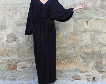 Black Maxi dress/ Long black dress/ Caftan/ Maxi Dress/ Plus size dress/ Summer dress/ Elegant dress/ Casual dress