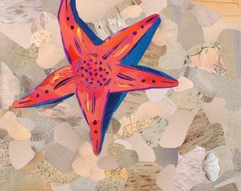 Orange Starfish Fine Art Print, Magazine Collage, Upcycle, Beach, Sanibel, Ocean, Animals, Nature, Sand, Recycle, 8x10, 11x14, 16x20