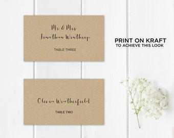Printable Place Card Template, Wedding Place Cards, Seating Cards,  Printable Template |  Calligraphy, Kraft | No. EDN 5134