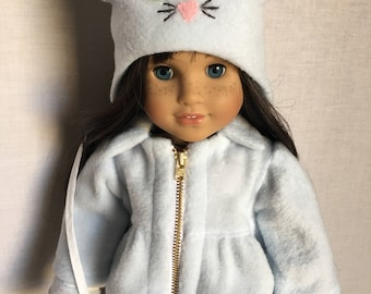 "18"" doll clothes- Winter Kitty Coat with hat and mittens made to fit American girl dolls"