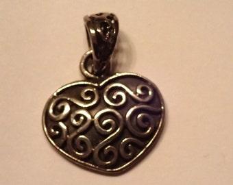 Small Sterling Swirl Heart Pendant