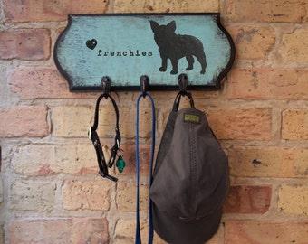 French bulldog vintage style dog leash holder, Dog Leash Hook, Dog Leash Hanger, Hook for Dog's Leash, Frenchies, Dog Silhouette, Dog Art