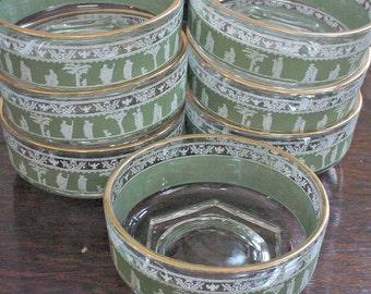 Jeannette Hellenic Glassware, Vintage Hellenic Bowl Set, Green Hellenic Nappy Bowls, 1960s Green Hellenic Set, Green Jeannette Dessert Bowls