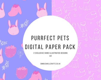 Perfect Pets Digital Paper Pack Download. Pet themed paper for scrapbooking, card making, crafting, parties