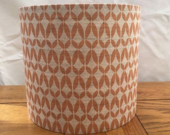 Handmade contemporary 'Siru' tangerine geometric print on natural linen/cotton blend fabric drum lampshade