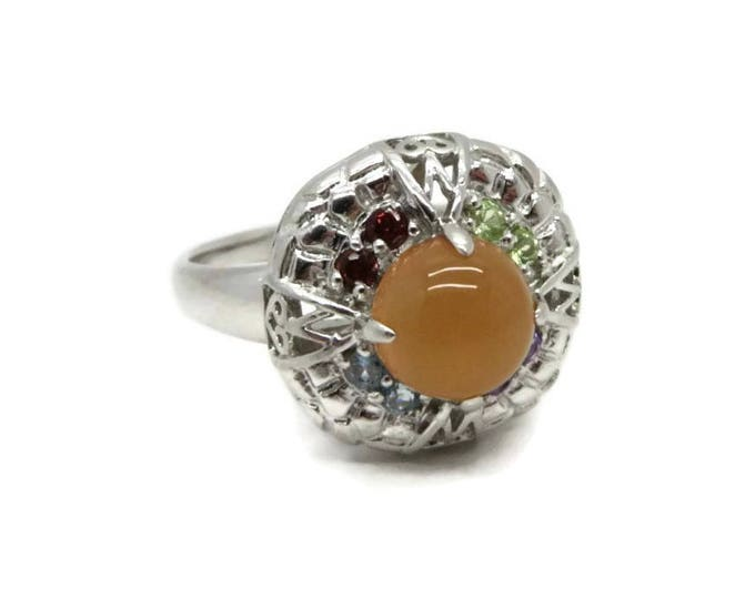 Orange Cabochon Cocktail Ring, Vintage Sterling Silver Ring, Size 11