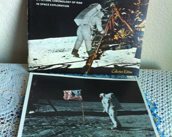 Man On The Moon A PIcture Chronology Of Man In Space Exploration Paperback Book And A Picture/Poster Apollo 11 Astronaut Stands On The Moon