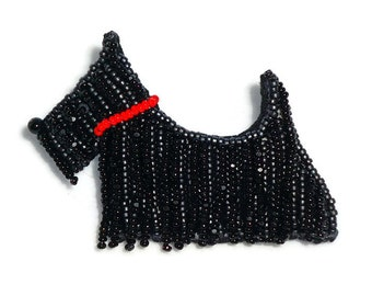 SCOTTISH TERRIER beaded Scottie Dog pin pendant art jewelry (Made to Order)