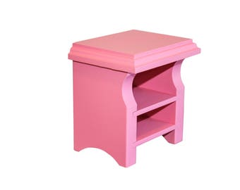 """Pink Nightstand, AG Doll Furniture, 18 inch Doll Furniture, 18"""" doll Nightstand, American Girl Nightstand"""