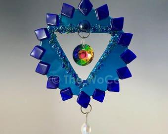 Chakra Five - Visuddha - Throat - Turquoise Fused Glass Ornament Suncatcher