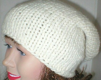 Ivory cream winter white slouchy hat, womens mens knit hat, winter hat, toque, chemo cap, mens womens slouchy hat, cream hat, slouchy beanie