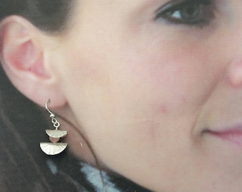 Lily Pad Earrings Hand Forged Sterling Silver With 2 hand made pads and 1 Rose Quartz 6mm bead