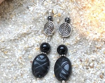 Black Onyx Wire Wrapped Sterling Silver Dangle Earrings
