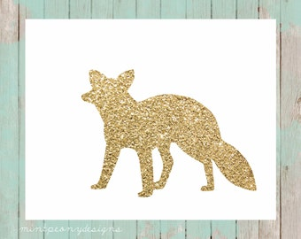Gold glitter fox silhouette.  8x10 digital printable.  Nursery/home decor print.