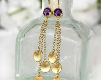 Amethyst Earrings with 18k Gold Petal Drops