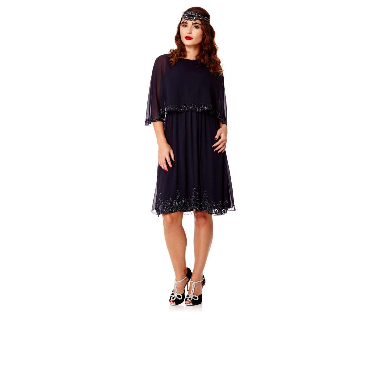 Plus Size Gloria Navy Blue Capelet Dress Vintage Inspired