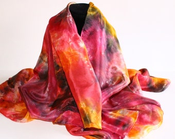 Silk Scarf, hand dyed, 35 x 35 inches, pink/yellow/orange/purple