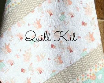 Girl Quilt Kit, DIY Project Baby Quilt Kit Bunnies Littlest Art Gallery Mint Green Coral Pink Gray Simple Easy Beginner Striped Pattern