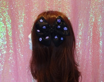 Pastel Goth Gothic Lolita Bad Bunny Purple Rose Black Twin Tail Bow