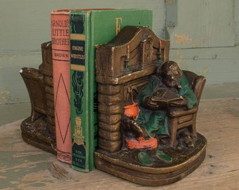 Chalkware Bookends,  Fireside Reading, Vintage Book Ends