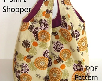 Tote Sewing Pattern - Reversible T-Shirt Shopper - PDF Bag Pattern, INSTANT DOWNLOAD
