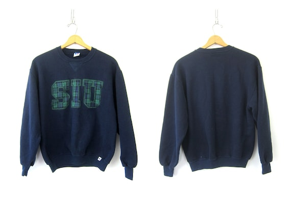 Navy Blue Sweatshirt SIU University Sweatshirt Novelty School Sweater Preppy College Sweater Women's Size large