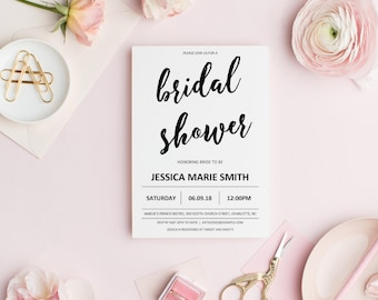 Bridal Shower Invitation Instant Download, Modern Bridal Shower Invitation Template, Minimalist Bridal Shower Invitation Printable, DOWNLOAD
