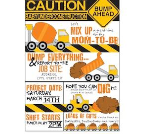 Baby shower, Construction Theme Invite: CAUTION baby under construction, Bump Ahead Baby Shower invite