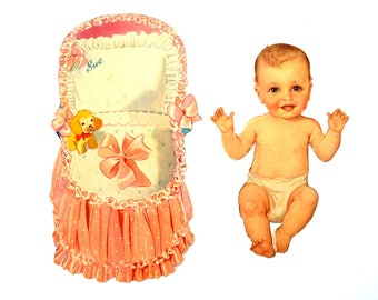 """Vintage Paper Baby Doll """"Sue"""" with Clothing, 34 pieces (c.1940s) - Doll Ephemera, Collectible Doll, Paper Projects"""