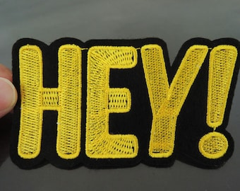 HEY Letter Patches - Iron on or Sewing on Patch Letter Patches Yellow Patch Embellishments Embroidery fonts Word Large Patch