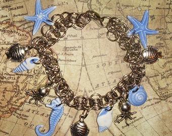 Sea Charm Bracelet, Charm Bracelet, Bracelet, Ocean Charm Bracelet, Ocean Charms, Gift for Her, Jewelry, Sea Charms, Shell Charm Bracelet