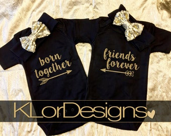Twin girl outfits, Born Together Friends Forever, Baby Girl, baby coming home outfit